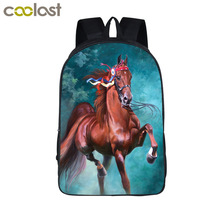Oil Painting War Horse Backpack For teenage Children Pony Backpacks Boys Girls School Bags Kids Kindergarten Backpack Gift Bag(China)
