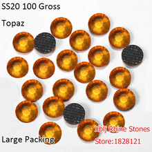 Wholesale Factory Supply Large Packing 100 Gross Per Bag 5mm SS20 Topaz Shining Strass Stones DMC Hotfix Glass Rhinestones
