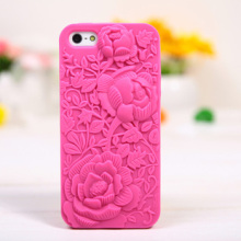 new 5 5s Top Fashion 3D Hollow Carved Roses Peonies Cell Phone Luxury Silicone Cases For Apple iphone 5 5s 5g phone Case Cover