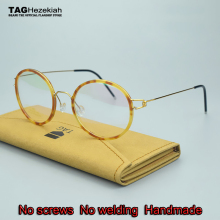 2017 brand TAG glasses frame titanium No screws  No welding  Handmade retro eyeglasses men women round glasses oculos de grau