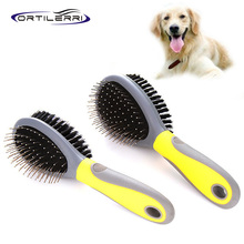 Ortilerri Pet Products Advanced Rubber Handle Double-sided Comb Massage Comb Brush Needle Head Pet Dog Cat Clean Beauty Products