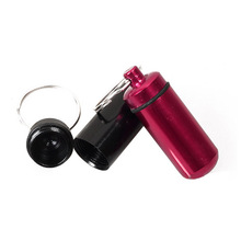 Aluminum Pill Box Bottle Holder Container Keychain Sale H7JP(China)
