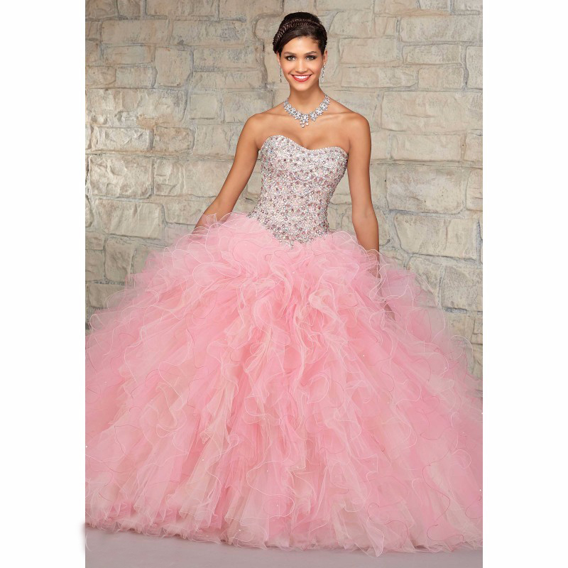 hote sale ball gown strapless floor length crystal beaded organza tiered wedding gown pink wedding dresses