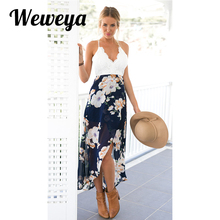 Weweya Summer Beach Dress Women Lace Floral Print Patchwork Dresses Sexy V Neck Backless Long Dress Vestidos Mujer
