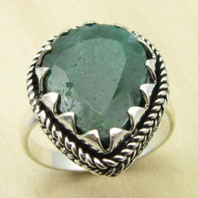 GRANDSON'S Ring, Authentic Emeralds Silver Plated Jewelry Size US 8.5 UNUSUAL India Jewelry