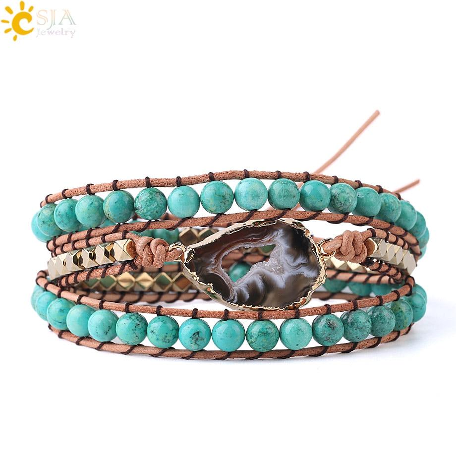 Agate and Quartz Leather Natural Gemstone Beaded Wrap Bracelet Turquoise