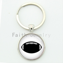 Simple vintage black white american football key chain men's leisure accessories sports keychain jewelry new idea gifts KC393(China)