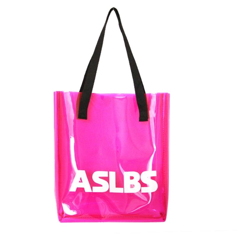 Summer Clear Plastic Waterproof Beach Bags Candy Color PVC Handbags Women Shopping Tote bolsas<br><br>Aliexpress