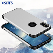 XSDTS For iPhone 7 Shockproof Phone Case For iPhone 8 7 6s Plus Phone Case For iPhone X PC TPU Silicone Carbon Fiber Back Cover(China)