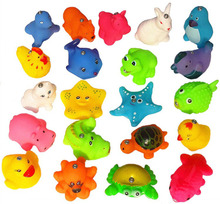 10Pcs Bathing Toy For Baby Kids Lovely Mixed Animals Water Toys Colorful Soft Rubber Float Squeeze Sound Squeaky