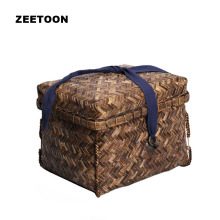 Vintage Bamboo Household Portable Box Outdoor Travel Bag Copper Buckle Storage Pack for Kung Fu Tea Set Jewelry Food Cosmetic