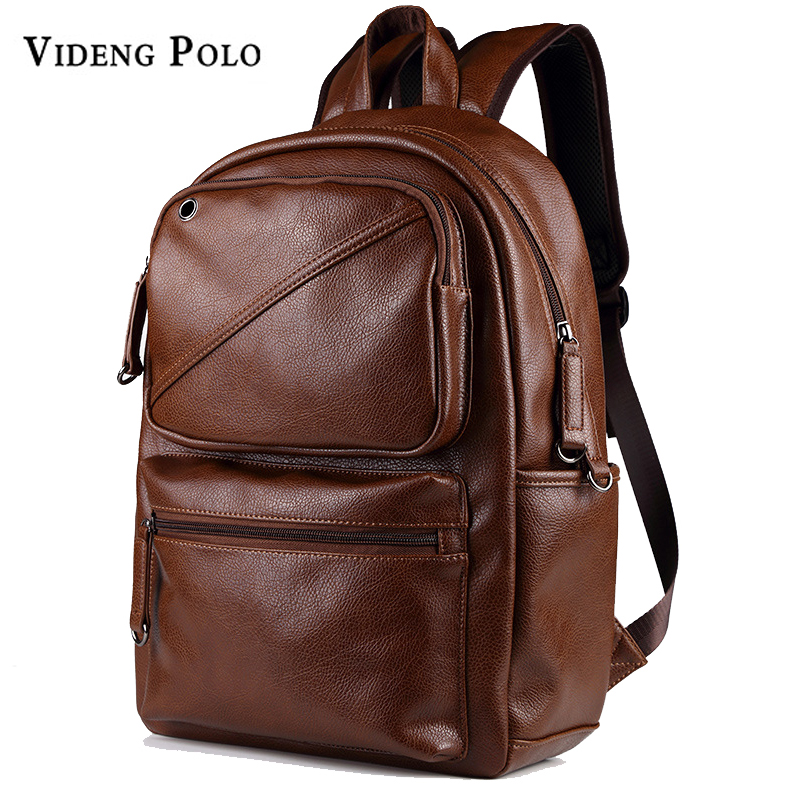 VIDENG POLO Men Brand Designer Large Capacity Backpack Leather Mens School Backpack Mochila Black Brown Travel Bag Shoulder bag<br>