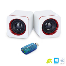 Universal Sound Cards Mini Active Subwoofer Small Speakers Desktop Computer laptop Tablet PC Notebook Stereo Speakers(China)