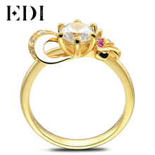 EDI Elegant Bowknot 14k 585 Yellow Gold 0.8ct Moissanite Diamond Ring  Round Cut Ruby Design Wedding Jewelry For Women