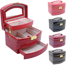 New Jewelry Storage Box Trinket Organizer Case Ring Earring Necklace Mirror PU Leather Gift Makeup Ornaments Storage Boxes