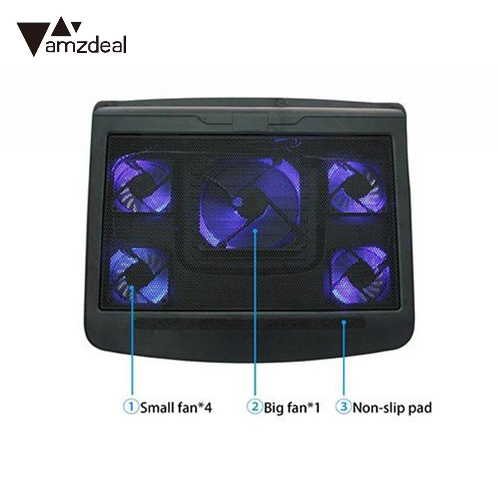 amzdeal Cooling Fan Radiator Pad USB Powered For 10-17 Inch Laptop Notebook PC Supplies 5 fans with light<br>