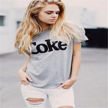 COKE T Shirt Women Sexy Gray graphic top High Fashion Letter Print Short Sleeve T-Shirt Cotton Casual Loose t shirt F10373