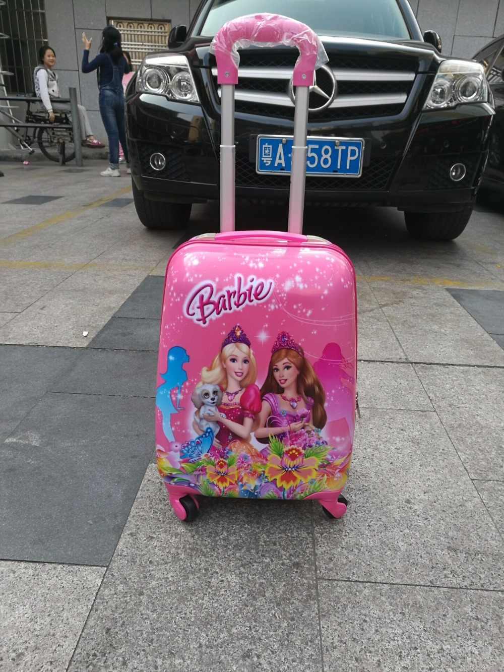 Free shipping  Barbie Princess fashion luggage children  cartoon  suitcase  luggage with rolls  EVA  travel suitcase wheel<br><br>Aliexpress