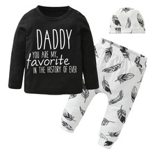 New 2017 Autumn Infant Clothing Newborn Baby Boys Girls Clothes Black Long Sleeve Letter Daddy Tops+Pants+Hat Toddler Outfits