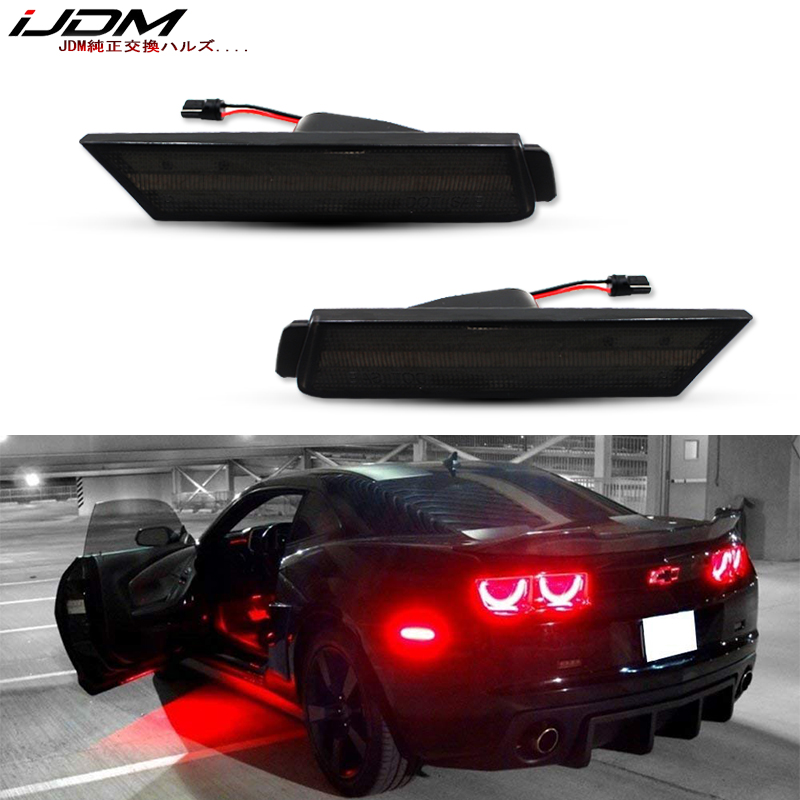 Fits 2010-2015 Chevy Camaro Front/&Rear Side Marker Lights Smoke Lens A//R LED Kit
