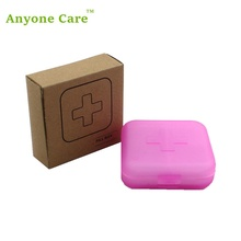 6pcs/lot Mini cross portable Four Cell Pillbox small items storage box home outdoor sealed plastic pill cases(China)