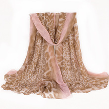 Famous Brand Polyester Leopard Printing Women Scarf With Solid Side Warm Plus Size Shawl and Scarves  180*110cm