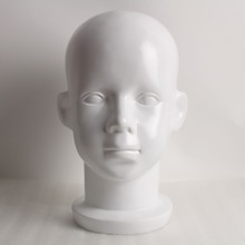 Fiberglass Child Children Kid White Head Mannequin For Wig And Hat Display(China)