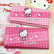 Women female cute anime cartoon printing hello kitty pink long wallet and purses and handbags woman cards holder wallets F18
