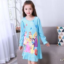 Girls nightdress New 2017 Autumn Winter Fashion Princess cartoon Long Dresses kids sleepDress Cotton children nightgowns(China)