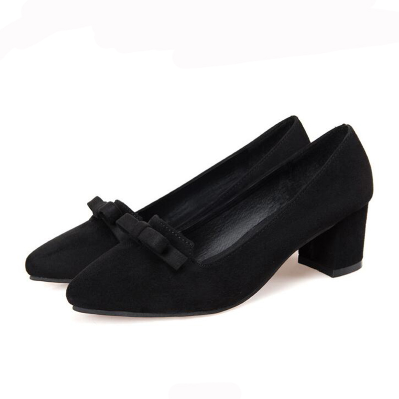 2017 Spring New Fashion Suede Pointed Women Pumps Bow Platform Thick High Heels Red Black Women High-heeled Wedding Shoes XP35<br><br>Aliexpress