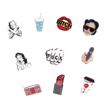 Cartoon Acrylic Badge Creative Radio Lipstick Acrylic Brooch  Gift Jewelry Accessories Clothes Shoes Package Scarf Jewelry
