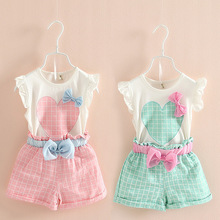 Anlencool Hot Products summer suit for children childrens clothing wholesale trade Shorts Girls cotton pants suit children dress