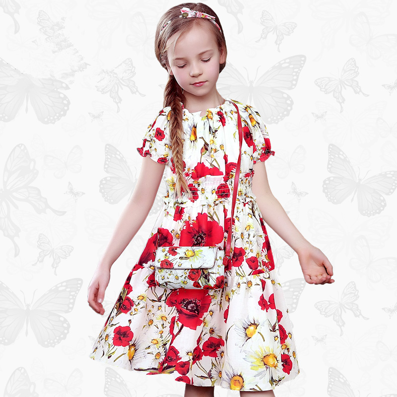 Toddler Girls Dresses Children Clothing 2017 Brand Princess Dress for Girls Clothes Fish Print Kids Beading Dress 1 12<br>