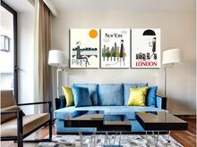 print abstract home decor wall art painting on canvas print PARIS,NEW YORK, LONDON city poster picture
