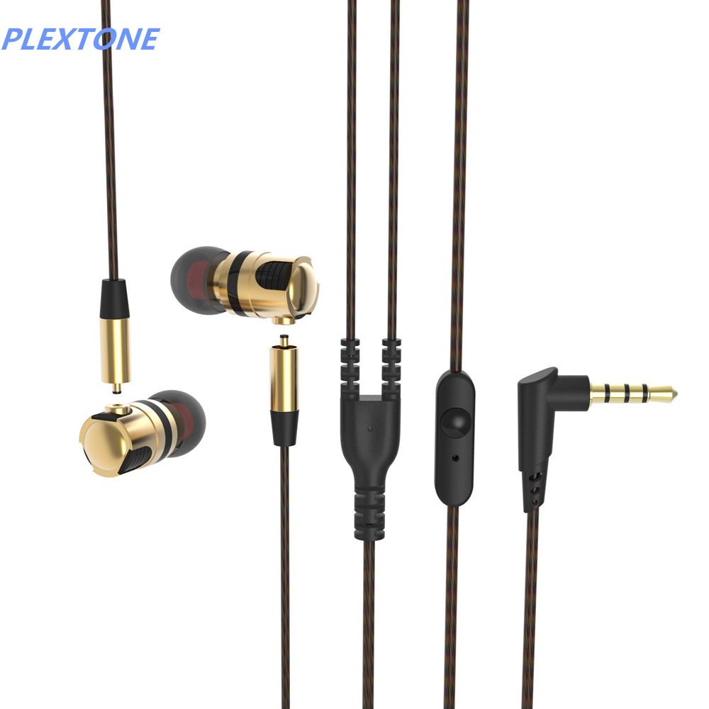 Pluggable PLEXTONE X46M headphones metal earphones with mic heavy bass headset 3.5mm plug gold and gray color<br><br>Aliexpress