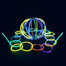 Multi Color Ritium Glow in Dark Party Lights Brancelets Glow Sticks Wedding Party Decor Flashing Toys for Christmas Gift 100pcs(China)