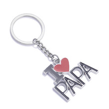 Creative I Love Papa Keychain Metal Enamel Key Rings For Women Girl Gift Key Chain Jewelry KQS(China)