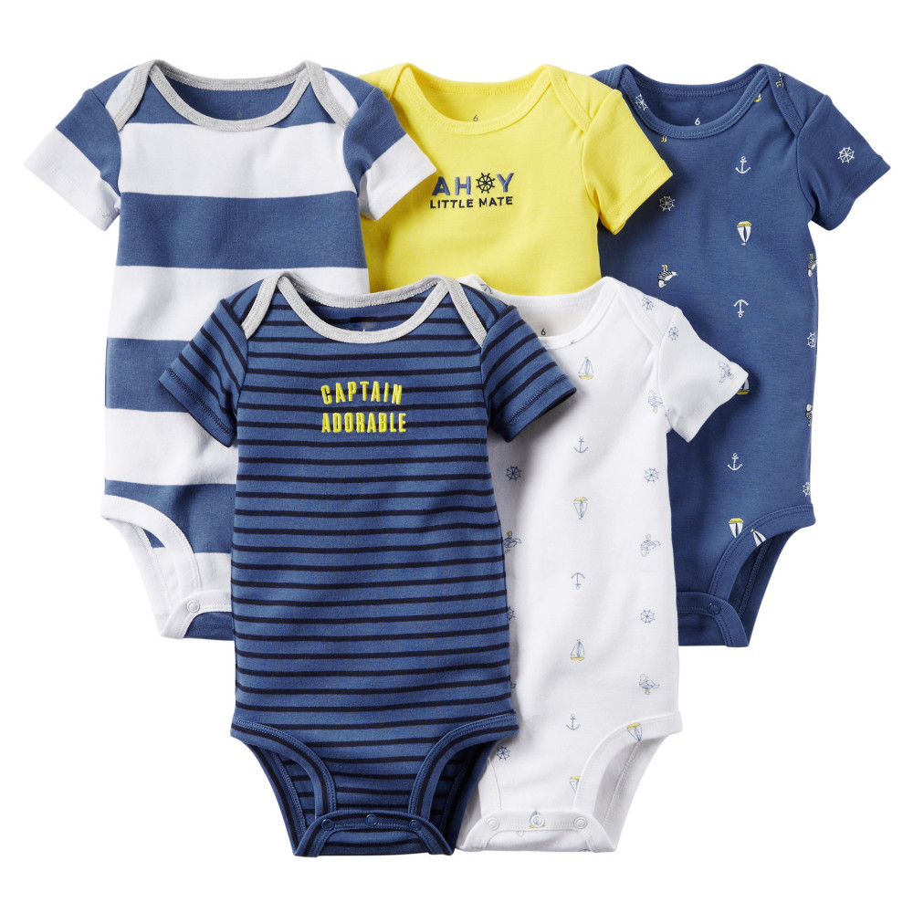 5pcs/lot Baby Carter Romper Short Sleeve Cotton  Boy Girl Clothes Wear Jumpsuits Clothing Set Body Suits 3 months to 24 months<br><br>Aliexpress