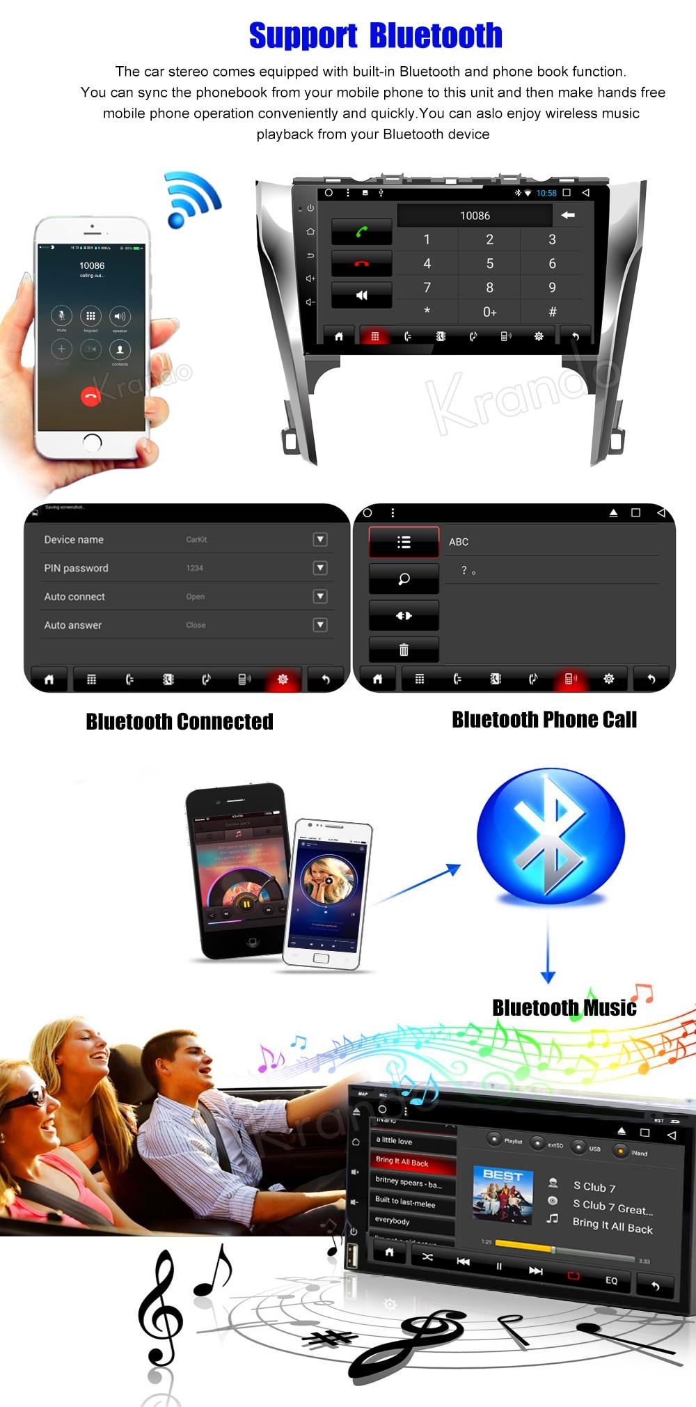 Krando Android car radio gps navigation multimedia system for toyota Camry 2012 2013 2014