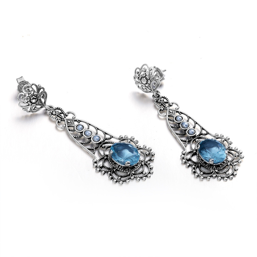 Szjinao Wholesale Fashion Aquamarine Pendant Earrings Ring Real Vintage Sterling Silver 925 Jewelry Set for Women