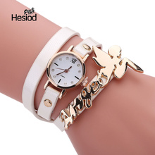 Hesiod Solid Color Small Round Dial Leather Band Gold Angel Bracelet Watch for Teenagers Girls Women(China)