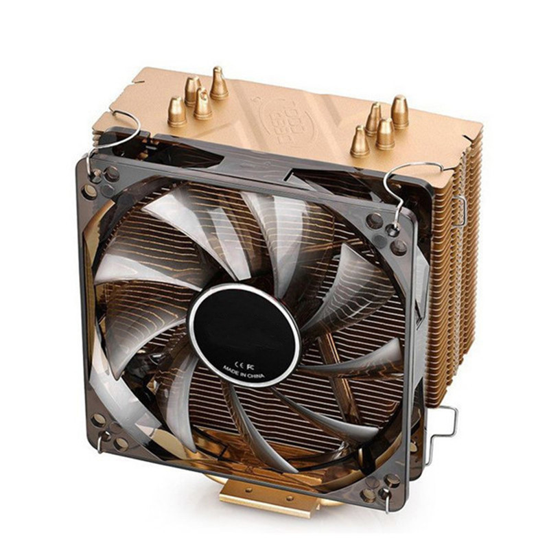 4 Pin Golden CUP Cooling Fan 120*120*15mm CPU Cooler Fan 4 Heatpipes Tower Side-Blown Aluminum Radiator For PC<br>