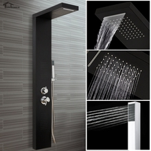 bathroom Shower Square Stainless Steel Black Shower Panel Square Water Column Waterfall Body Jets Hand Held 9usd discount FOR UK