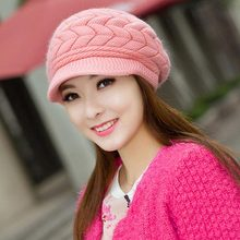 Berets - New Arrival Female Knitted Cap Angora Wool Cap Child Hat Tide Warm Winter Double Ear #1863936