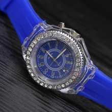 Geneva Silicone Glowing in the Dark LED Colorful Unisex Quartz Watches For Boys and Girls