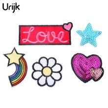 Urijk 5PCs Sequin Applique Stripes On Clothes Iron-On Transfers Patches For Clothing Hats Sticker Embroidered Sewing Accessories(China)
