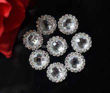 Free Shipping 100pcs/lot DIA 15mm Round Metal Rhinestone With Clear Acrylic Button Wedding Embellishment Headband DIY Accessory