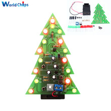 DIY Kit Christmas Trees LED Circuit Red Green Flash Light Electronic Suit(China)