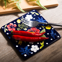 Western cutlery Hand painted underglaze color ceramic flat square baking Plate cake plate rectangular flat plate Japanese sushi