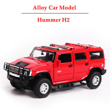 3 Colors Scale Models Car Hummer H2 Diecast model car 1:32 Sound & Light Pull Back Miniature Car toys Gift Box Set for Boy